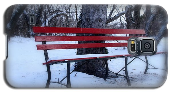A Red Bench Waiting For Spring Galaxy S5 Case