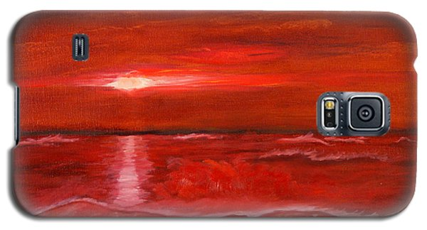 Galaxy S5 Case featuring the painting A Red Sunset by J Cheyenne Howell