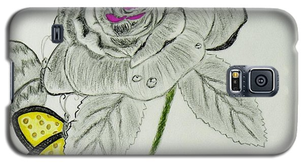 Galaxy S5 Case featuring the drawing A Rose By Any Other Name by Celeste Manning