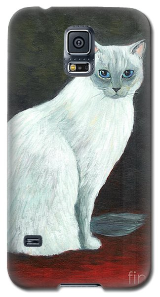 Galaxy S5 Case featuring the painting A Siamese Cat On Red Mat by Jingfen Hwu
