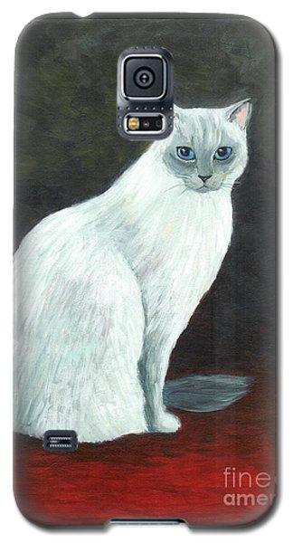 A Siamese Cat On Red Mat Galaxy S5 Case by Jingfen Hwu