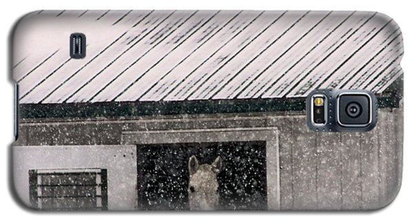 Galaxy S5 Case featuring the photograph A Snowfall At The Stable by Bruce Patrick Smith