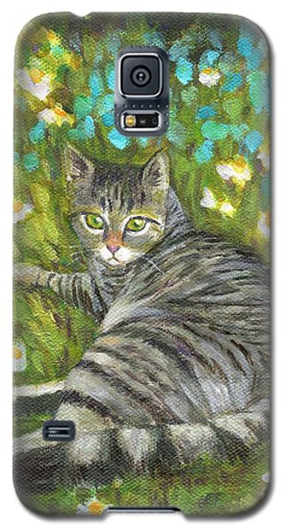 Galaxy S5 Case featuring the painting A Striped Cat On Floral Carpet by Jingfen Hwu