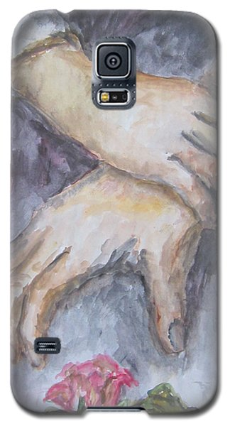 Galaxy S5 Case featuring the painting A Study Of Hands With A Rose by Cheryl Pettigrew