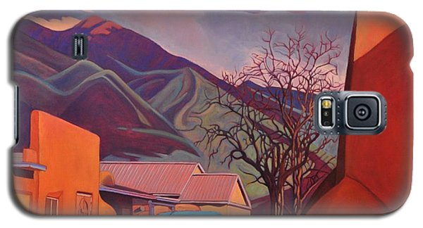 Galaxy S5 Case featuring the painting A Teal Truck In Taos by Art James West