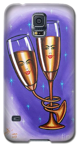 Galaxy S5 Case featuring the painting A Twist Of Romance... by Ragunath Venkatraman