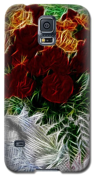 Galaxy S5 Case featuring the photograph A Vase Of Standing Roses by Mario Carini