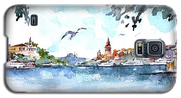 Galaxy S5 Case featuring the painting A View Of The Historical Peninsula From Uskudar - Istanbul by Faruk Koksal