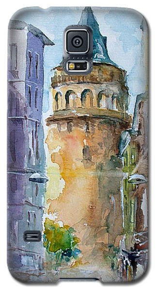 Galaxy S5 Case featuring the painting A Walk Around Galata Tower - Istanbul by Faruk Koksal