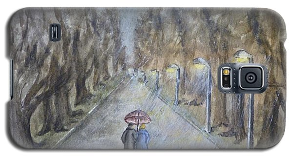 Galaxy S5 Case featuring the painting A Wet Evening Stroll by Kelly Mills