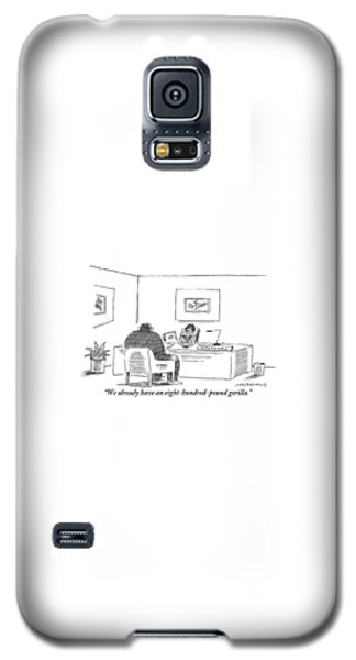 Gorilla Galaxy S5 Case - A Woman Behind A Desk Bearing A Sign Saying by Mick Stevens