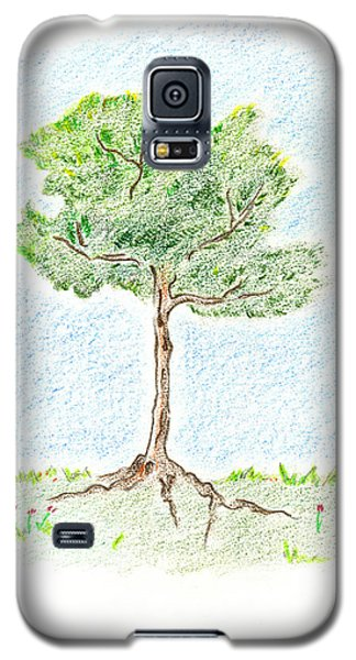 Galaxy S5 Case featuring the drawing A Young Tree by Keiko Katsuta