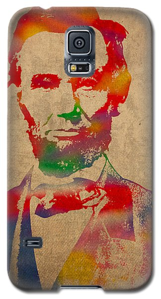 Portraits Galaxy S5 Case - Abraham Lincoln Watercolor Portrait On Worn Distressed Canvas by Design Turnpike