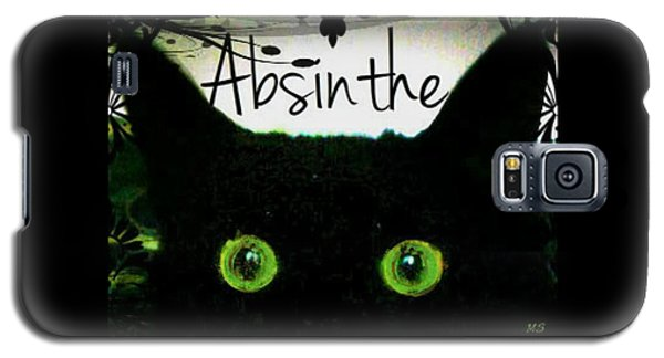 Galaxy S5 Case featuring the digital art Absinthe Black Cat by Absinthe Art By Michelle LeAnn Scott