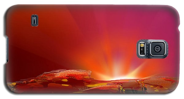 Galaxy S5 Case featuring the digital art Abstract - Alien Sunrise by rd Erickson