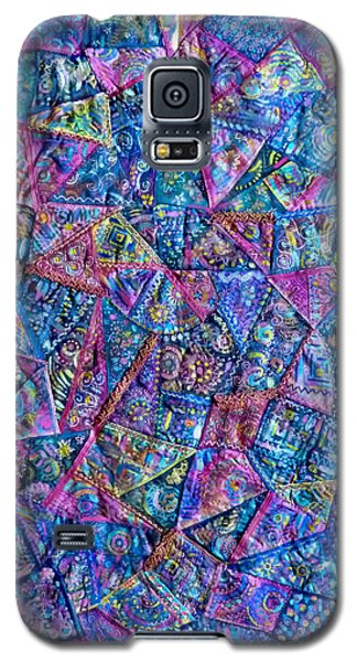 Galaxy S5 Case featuring the digital art Abstract Blue Rose Quilt by Jean Fitzgerald
