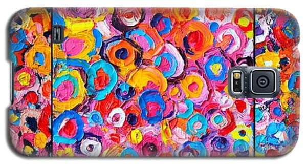 Abstract Colorful Flowers Triptych  Galaxy S5 Case