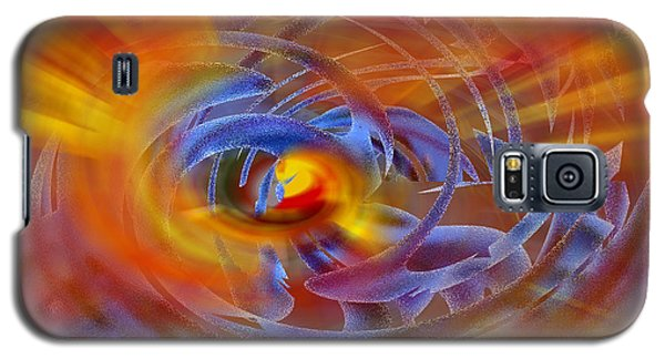 Galaxy S5 Case featuring the digital art Abstract In Fire And Blue by rd Erickson