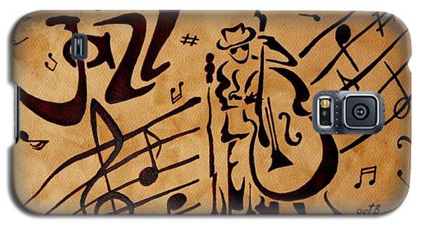 Abstract Jazz Music Coffee Painting Galaxy S5 Case by Georgeta  Blanaru