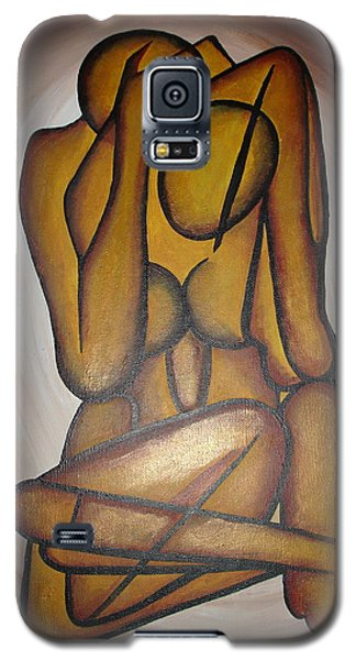 Galaxy S5 Case featuring the painting Abstract Lovers by Tracey Harrington-Simpson