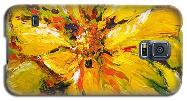 Galaxy S5 Case featuring the painting Abstract Sunflower by Lori Ippolito