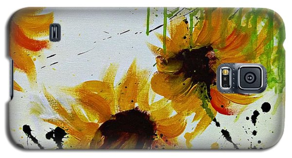 Galaxy S5 Case featuring the painting Abstract Sunflowers by Ismeta Gruenwald