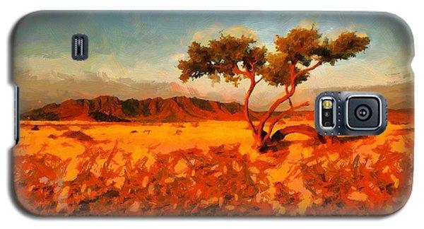 Galaxy S5 Case featuring the digital art Acacia Tree In Namibia by Kai Saarto