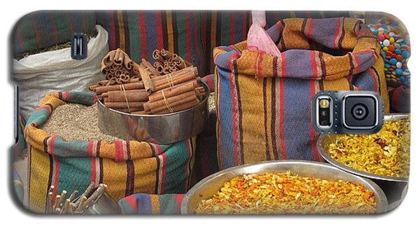 Galaxy S5 Case featuring the photograph Acco Acre Israel Shuk Market Spices Stripes Bags by Paul Fearn