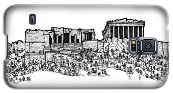 Galaxy S5 Case featuring the drawing Acropolis Of Athens by Calvin Durham
