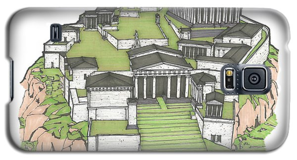 Galaxy S5 Case featuring the drawing Acropolis Of Athens Restored by Calvin Durham