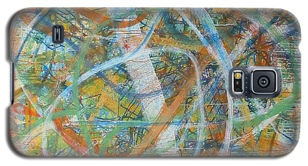 Galaxy S5 Case featuring the painting Paris Busy Street Life by Phoenix De Vries