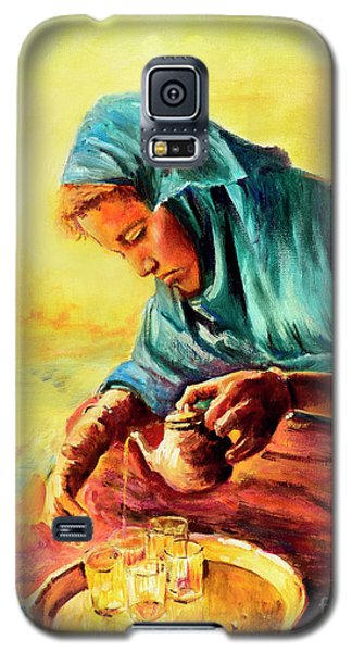 Galaxy S5 Case featuring the painting African Chai Tea Lady. by Sher Nasser
