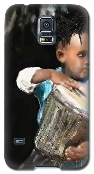 Galaxy S5 Case featuring the painting African Drummer Boy by Vannetta Ferguson