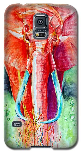 Galaxy S5 Case featuring the painting African Elephant In Red by Daniel Janda