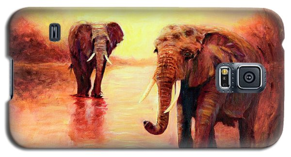 Galaxy S5 Case featuring the painting African Elephants At Sunset In The Serengeti by Sher Nasser