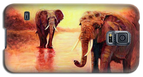 African Elephants At Sunset In The Serengeti Galaxy S5 Case