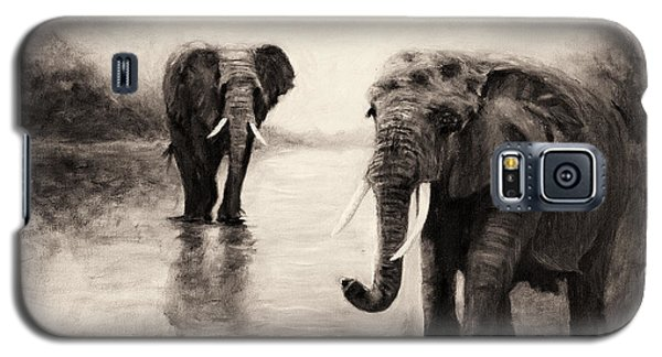 African Elephants At Sunset Galaxy S5 Case