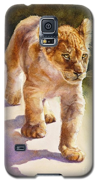 Galaxy S5 Case featuring the painting African Lion Cub by Bonnie Rinier
