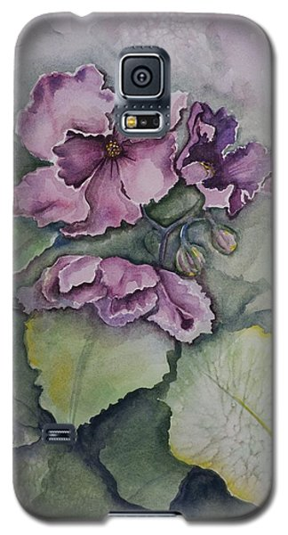 Galaxy S5 Case featuring the painting African Violets by Rebecca Matthews