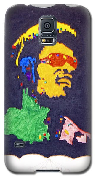 Galaxy S5 Case featuring the painting Afro Stevie Wonder by Stormm Bradshaw