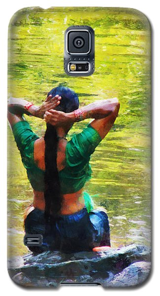 After The River Bathing. Indian Woman. Impressionism Galaxy S5 Case by Jenny Rainbow