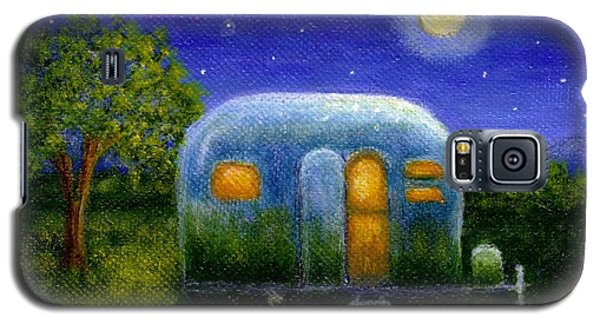 Galaxy S5 Case featuring the painting Airstream Camper Under The Stars by Sandra Estes
