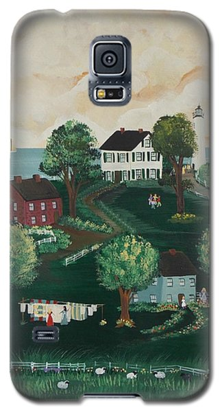 Galaxy S5 Case featuring the painting Airing Out The Quilts by Virginia Coyle