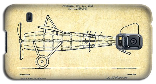 Airplane Patent Drawing From 1918 - Vintage Galaxy S5 Case