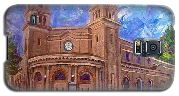 Galaxy S5 Case featuring the painting Alameda 1909  Twin Towers Church - Italian Renaissance  by Linda Weinstock