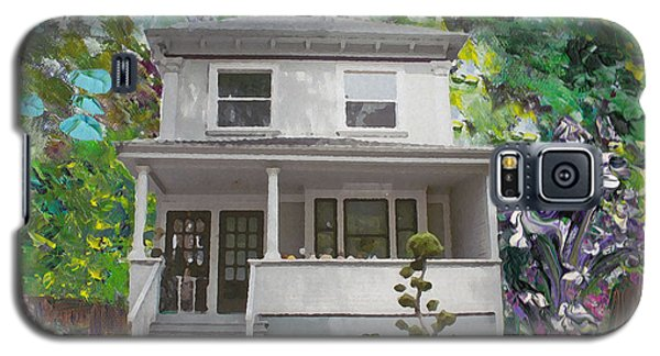 Galaxy S5 Case featuring the painting Alameda 1933 Duplex - American Foursquare  by Linda Weinstock