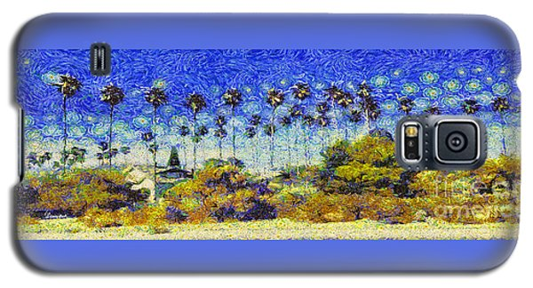 Galaxy S5 Case featuring the painting Alameda Famous Burbank Palm Trees by Linda Weinstock