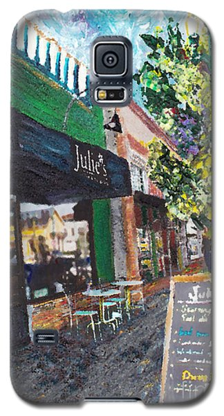 Galaxy S5 Case featuring the painting Alameda Julie's Coffee N Tea Garden by Linda Weinstock