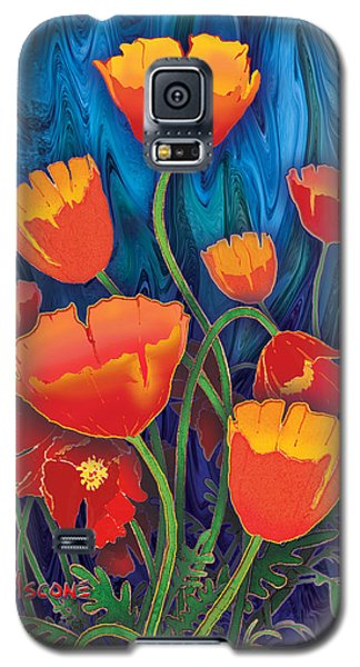 Galaxy S5 Case featuring the mixed media Alaska Poppies by Teresa Ascone