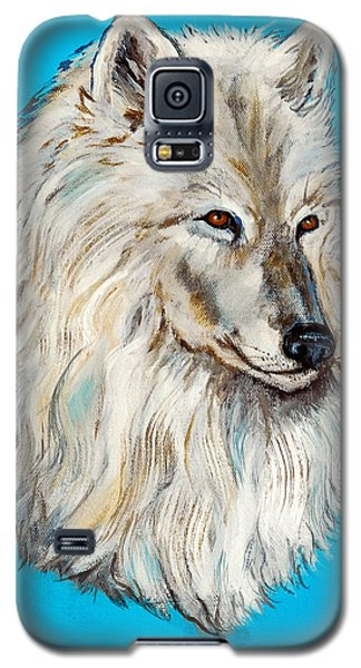 Galaxy S5 Case featuring the painting Alaska White Wolf by Bob and Nadine Johnston